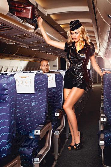 Baci Обольстительная Стюардесса, Пиджак, мини-юбка, значок, галстук и пилотка - Размер S-M