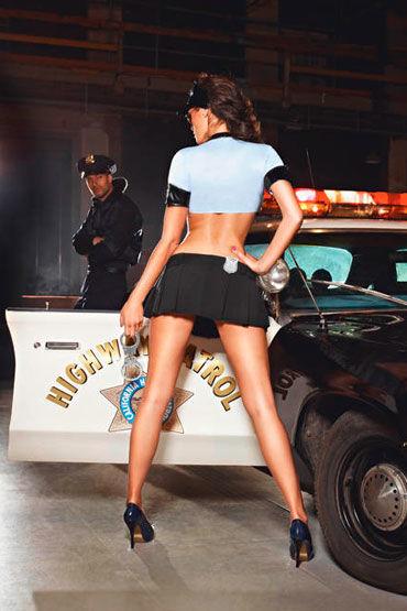 Baci Ночной Полицейский Топ, мини-юбка, ремень, значок и фуражка