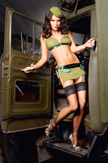 Baci Обольстительница Милитари, Топ, мини-юбка и пилотка - Размер S-M от condom-shop.ru