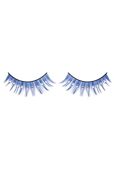 Baci Lashes, синий Накладные ресницы со стразами