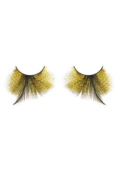 Baci Lashes, желто-черный Накладные ресницы с перьями