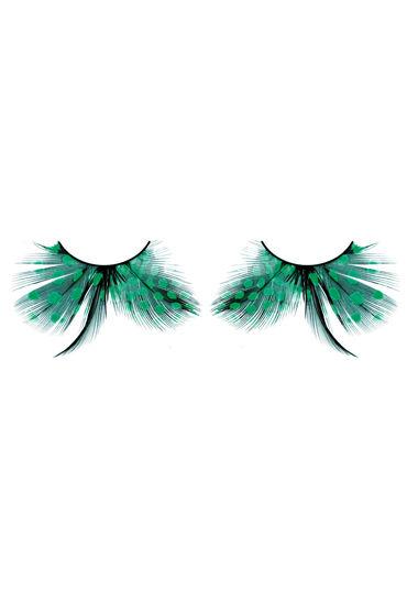Baci Lashes, черно-зеленый Накладные ресницы с перьями