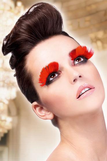 Baci Lashes, красный, Накладные ресницы с перьями