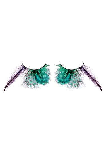 Baci Lashes, зелено-фиолетовый Накладные ресницы с перьями