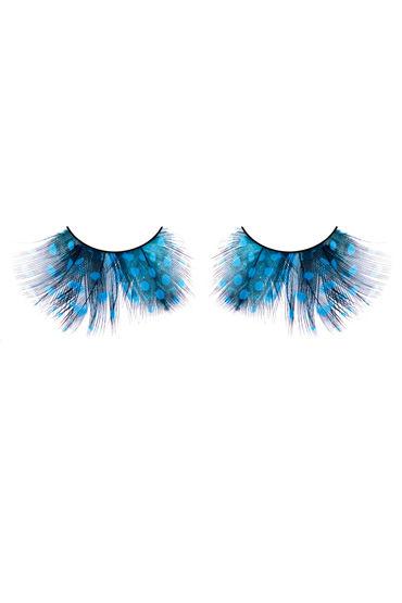 Baci Lashes, голубой Накладные ресницы с перьями