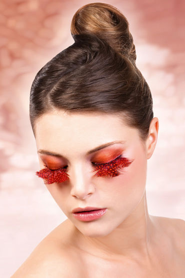 Baci Lashes, оранжево-красный, Накладные ресницы с перьями
