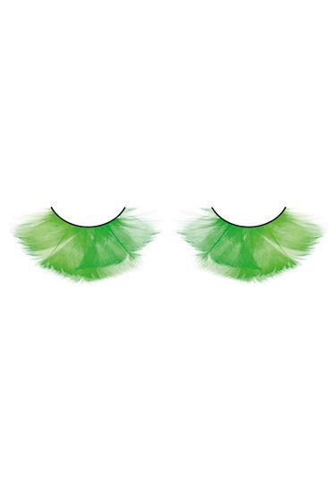 Baci Lashes, зеленый Накладные ресницы с перьями