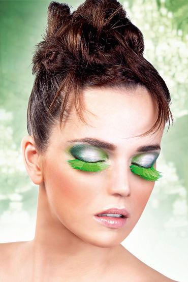 Baci Lashes, зеленый, Накладные ресницы с перьями