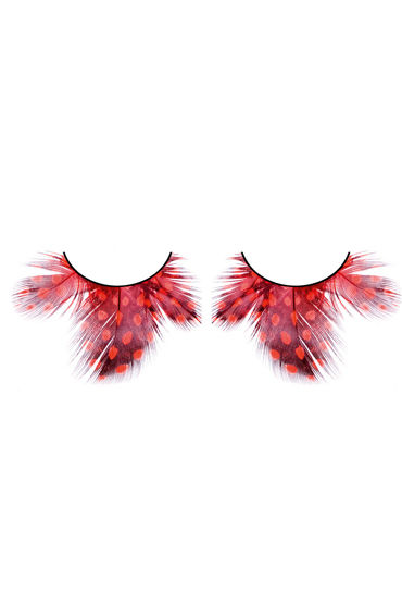 Baci Lashes, темно-красный Накладные ресницы с перьями