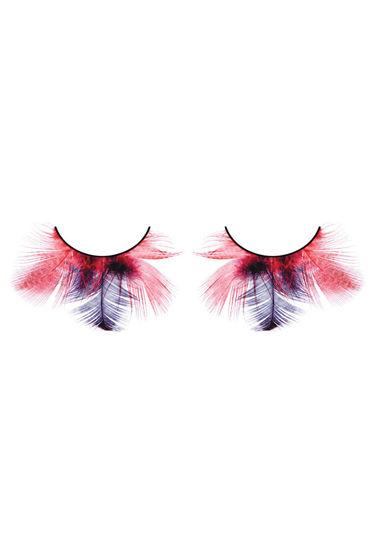 Baci Lashes, красно-фиолетовый Накладные ресницы с перьями