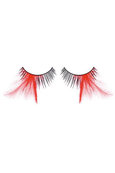 Baci Lashes, черно-красный Накладные ресницы с перьями