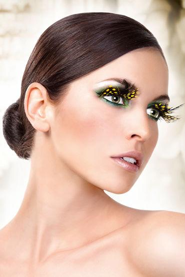 Baci Lashes, желто-черный, Накладные ресницы с перьями