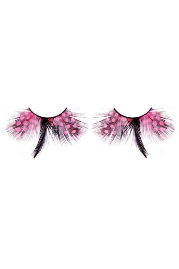 Baci Lashes, розово-черный Накладные ресницы с перьями