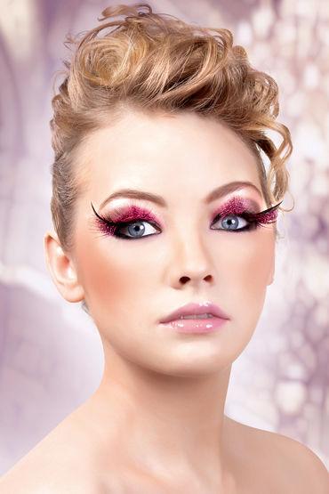 Baci Lashes, розово-черный, Накладные ресницы с перьями