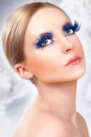 Baci Lashes, голубой, Накладные ресницы с перьями