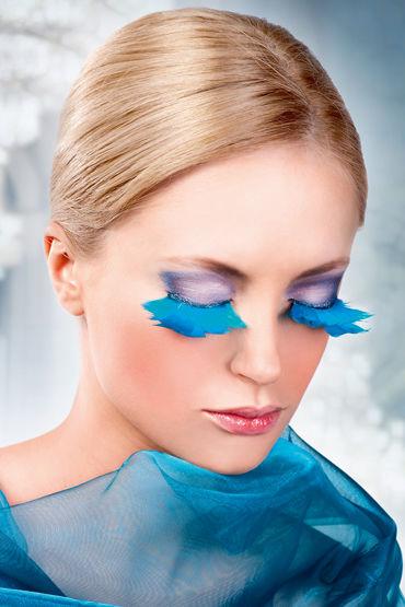 Baci Lashes, ярко-голубой, Накладные ресницы с перьями