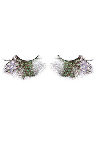 Baci Lashes, коричнево-зеленый Накладные ресницы с перьями