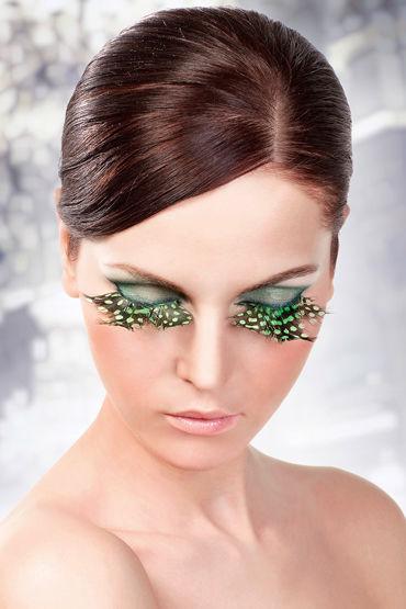 Baci Lashes, коричнево-зеленый, Накладные ресницы с перьями