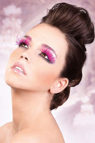 Baci Lashes, розовый, Накладные ресницы с перьями