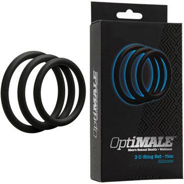 Doc Johnson Optimale 3 C-Ring Set Thin, черный Набор тонких эрекционных колец