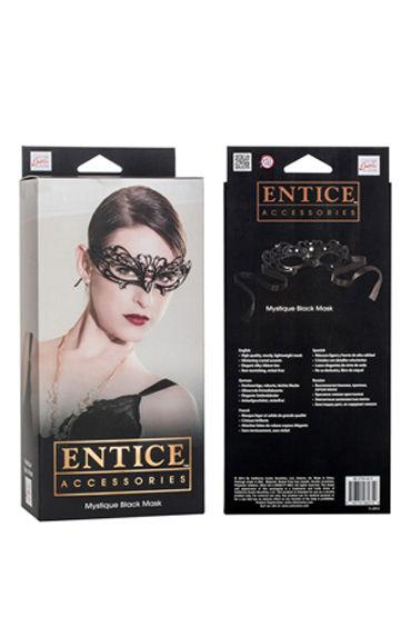 California Exotic Entice Mystique Mask, черная Элегантная никелевая маска со стразами