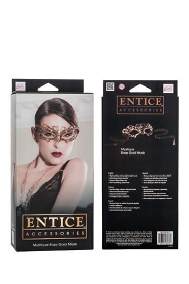 California Exotic Entice Mystique Mask, золотистая Элегантная никелевая маска со стразами