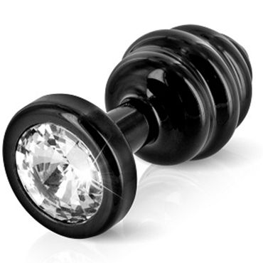 Diogol Anni Ano T2, черная Рельефная анальная пробка с кристаллом Swarovski