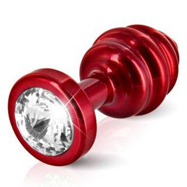 Diogol Anni Ano T2, красная Рельефная анальная пробка с кристаллом Swarovski