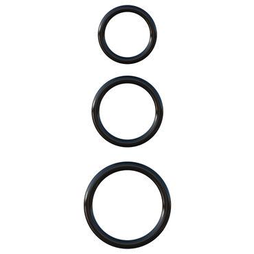 Pipedream Silicone 3-Ring Stamina Set, черный Набор эрекционных колец