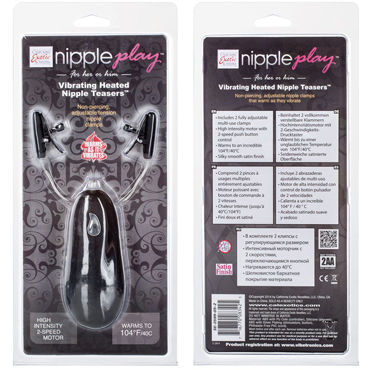 California Exotic Vibrating Heated Nipple Teasers, черные Зажимы на соски с подогревом