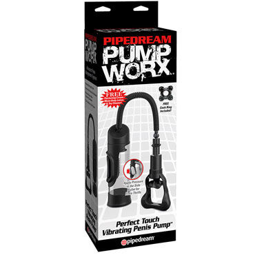 Pipedream Perfect Touch Vibrating Penis Pump, черная Вакуумная помпа с вибрацией