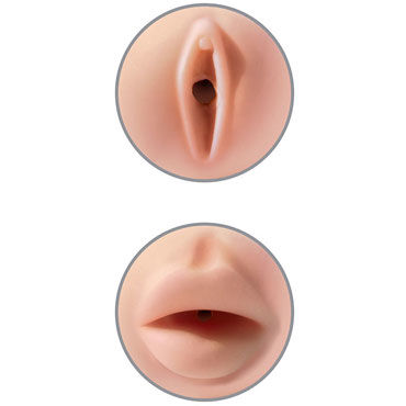 Pipedream Pussy & Mouth Masturbator, белый Мастурбатор двусторонний вагина-ротик