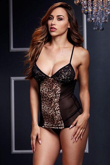 Baci Прозрачная сорочка, черная С леопардовым принтом