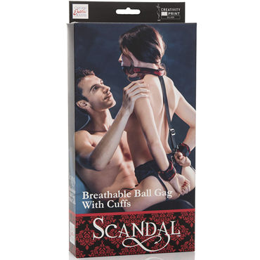 California Exotic Scandal Breathable Ball Gag With Cuffs, красный Кляп с  наручниками