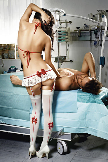 Baci Костюм медсестра профи, белый Топ, мини-юбка с подвязками