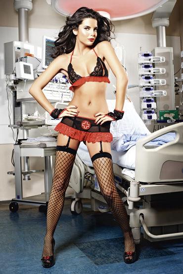 Baci Костюм знойная медсестра, черный Топ, мини-юбка с подвязками и перчатки
