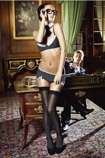 Baci Костюм секретарша секси, черный Топ, мини-юбка, воротничок и галстук