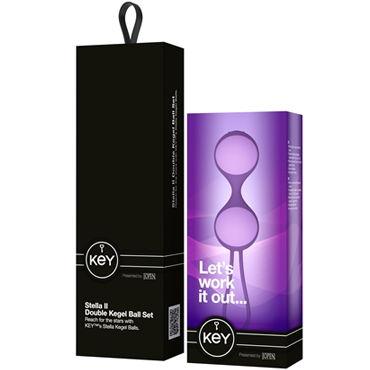 Jopen Key Stella II, фиолетовый Три вагинальных шарика с эластичным держателем