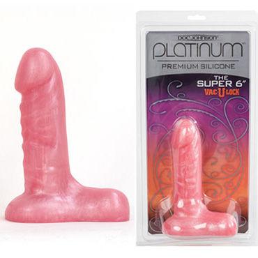 Doc Johnson The Super 15,5 см, розовый, Рельефная насадка-фаллоимитатор к трусикам