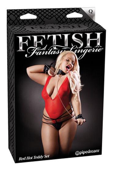Fetish Fantasy Lingerie Red Hot Teddy Set Боди, стринги, манжеты и воротничок
