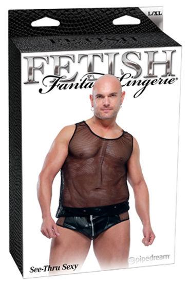 Fetish Fantasy See-Thru Sexy Сексуальные мужские трусы и прозрачная майка