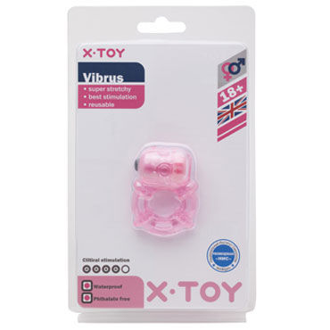 X-Toy Vibrus, розовое Эрекционное виброкольцо