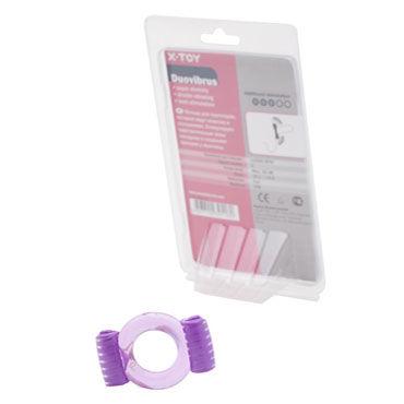 X-Toy Duovibrus, фиолетовое Эрекционное кольцо с двумя виброэлементами