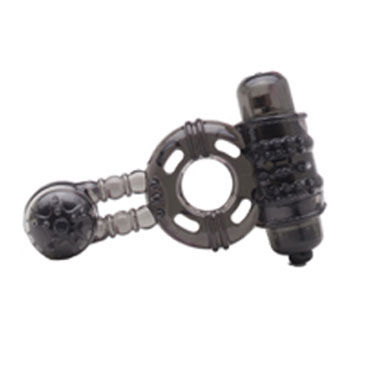 X-Toy Duovibrus II, серое Эрекционное кольцо с двумя виброэлементами и петлей для мошонки