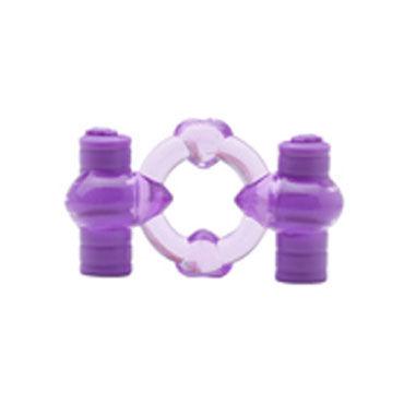 X-Toy Duovibrus III, фиолетовое Эрекционное кольцо с двумя виброэлементами