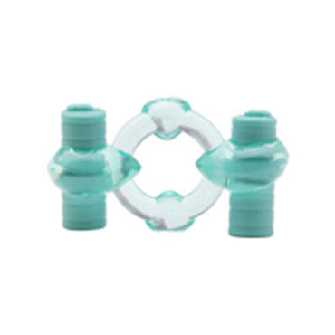 X-Toy Duovibrus III, бирюзовое Эрекционное кольцо с двумя виброэлементами