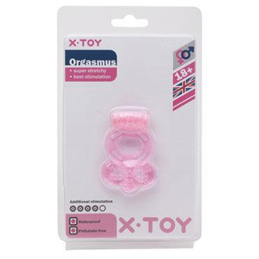 X-Toy Orgasmus I, розовое Эрекционное виброкольцо с петлей для мошонки