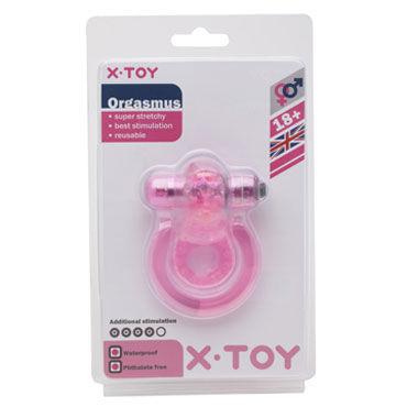 X-Toy Orgasmus II, розовое Эрекционное виброкольцо с петлей для мошонки