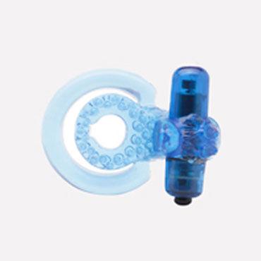 X-Toy Orgasmus II, синее Эрекционное виброкольцо с петлей для мошонки
