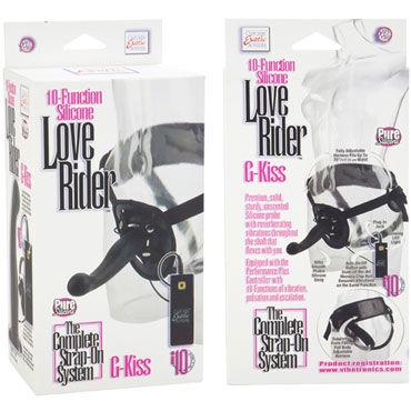 California Exotic Love Rider G-Kiss, черный Страпон унисекс с вибрацией